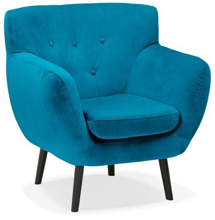 Blauwgroene fluwelen loungefauteuil 'OPERA MINI' - 1 zitplaats