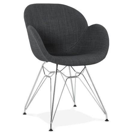 Moderne stoel 'ORIGAMI' met donkergrijze stof met wit metalen voeten