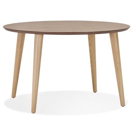 Uitschuifbare ronde eettafel 'ORTENSIA' van natuurkleurig afgewerkt hout - 120-220x120 cm
