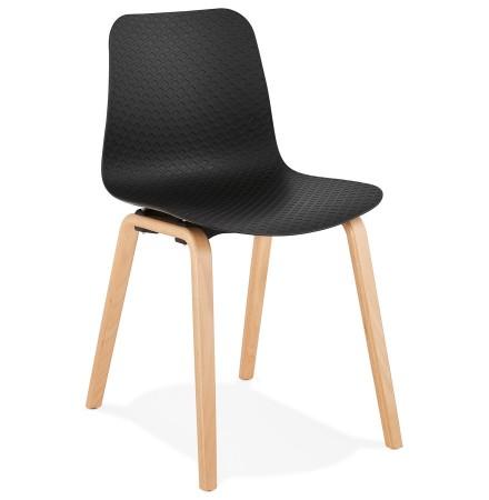 Scandinavische stoel 'PACIFIK' zwart met natuurlijk houten poten