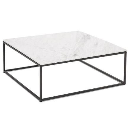 Table de salon carrée 'PATIO' en marbre blanc et métal noir
