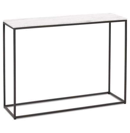 Design consoletafel 'PATIO' van wit marmer en zwart metaal