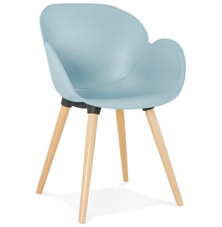 Scandinavische design stoel 'PICATA' blauw met houten poten