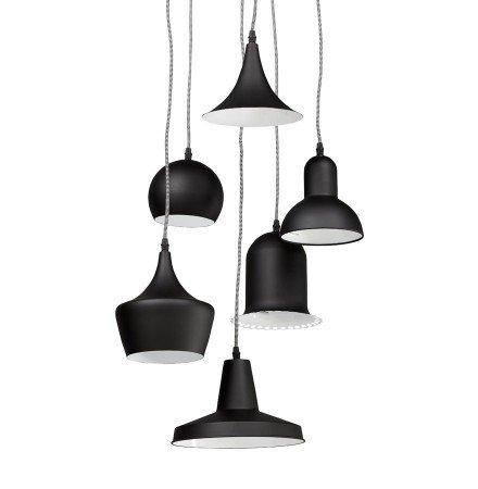 Hanglamp PIGAL met 6 verschillende lampenkappen - Alterego
