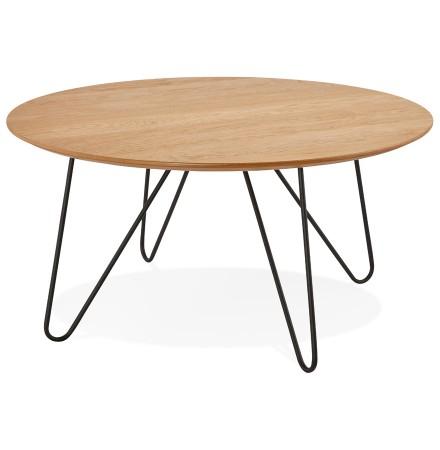 Lage design tafel PLUTO van natuurlijk hout - Alterego