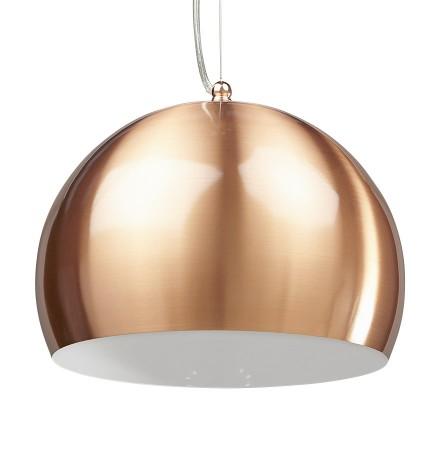 Bolvormige, koperkleurige hanglamp POGO - Alterego