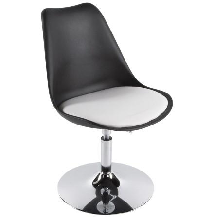 Moderne, zwart en witte, in de hoogte regelbare draaistoel 'QUEEN'