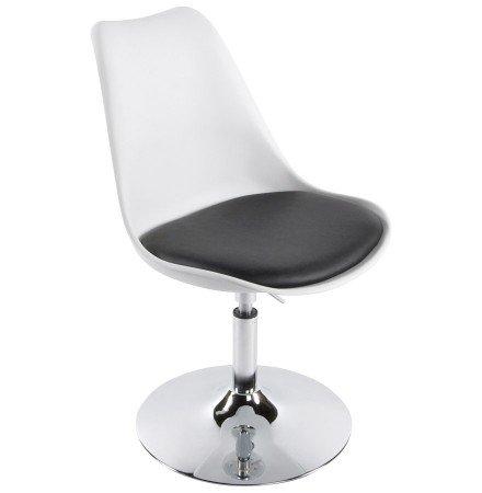 Moderne, wit en zwarte, in de hoogte regelbare draaistoel 'QUEEN'