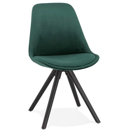 Vintage stoel 'RICKY' in groen fluweel en poten in zwart hout