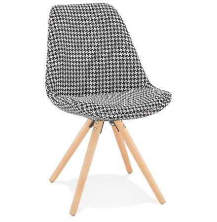 Vintage stoel 'RICKY' in pied-de-poule-print stof en poten in natuurkleurig hout