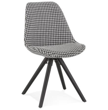 Vintage stoel 'RICKY' in pied-de-poule-print stof en poten in zwart hout