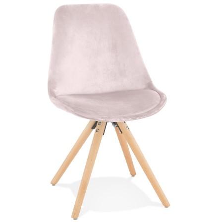 Vintage stoel 'RICKY' in roze fluweel en poten in natuurkleurig hout
