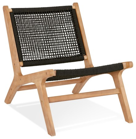 Lounge tuinfauteuil 'RIVA' van natuurlijk hout voor binnen/buiten