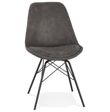 Design stoel 'ROYAL' van grijze microvezel met zwarte metalen poten