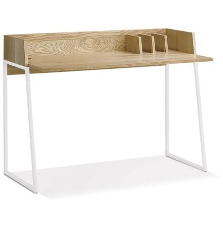 Rechte design bureau 'SALMON' in natuurkleurig hout en wit metaal
