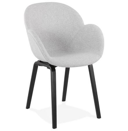 Designstoel met armleuningen 'SAMY' in lichtgrijze stof en zwarte houten poten