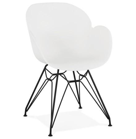 Design stoel 'SATELIT' wit industriële stijl met zwart metalen voeten