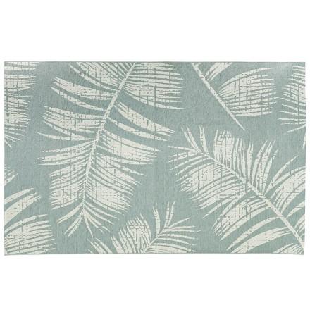Blauw design tapijt 'SEQUOIA' 200x290 cm met palmbladmotief - binnen/buiten