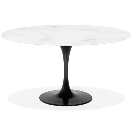 Ronde eettafel 'SHADOW' van wit glas met marmereffect en centrale zwarte poot - Ø 140 cm