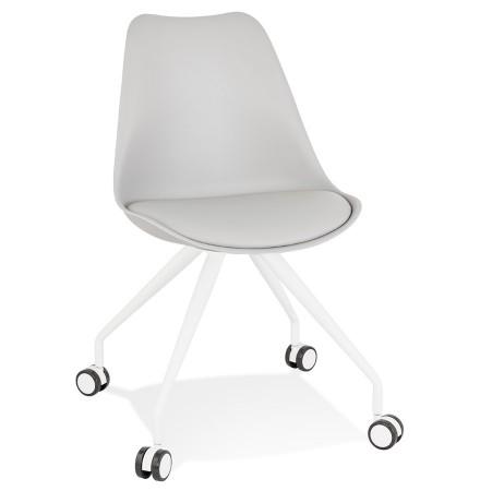 Grijze bureaustoel op wieltjes 'SKIN' met metalen frame