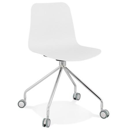 Design bureaustoel 'SLIK' wit op wielen