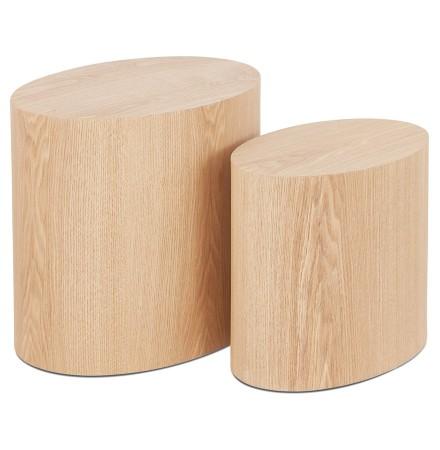 Set van 2 bijzettafels 'SOKLE' in natuurlijk afgewerkt hout