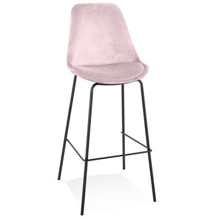 Tabouret de bar 'SPARK' en velours rose et pieds en métal noir