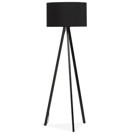 Staande lamp op driepoot 'SPRING' met zwarte lampenkap en 3 zwarte poten