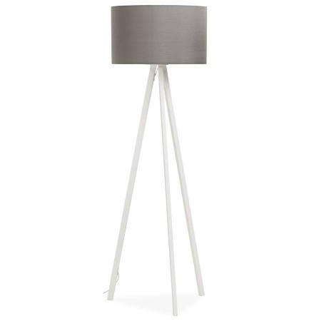 Staande lamp op driepoot 'SPRING' met grijze lampenkap en 3 witte poten