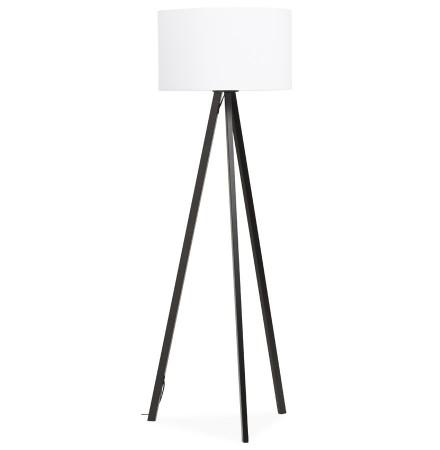 Staande lamp op driepoot 'SPRING' met witte lampenkap en 3 zwarte poten