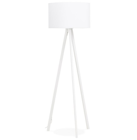 Staande lamp op driepoot 'SPRING' met witte lampenkap en 3 witte poten