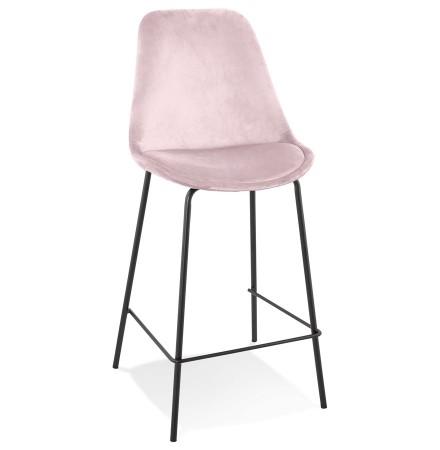 Halfhoge barkruk 'SPARK MINI' van roze velours met zwarte metalen poten
