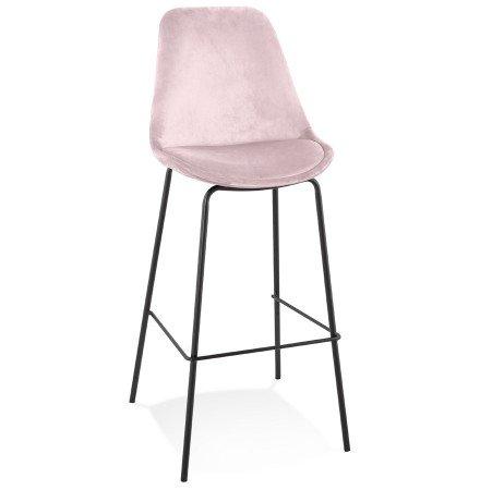 Barkruk 'SPARK' van roze velours met zwarte metalen poten