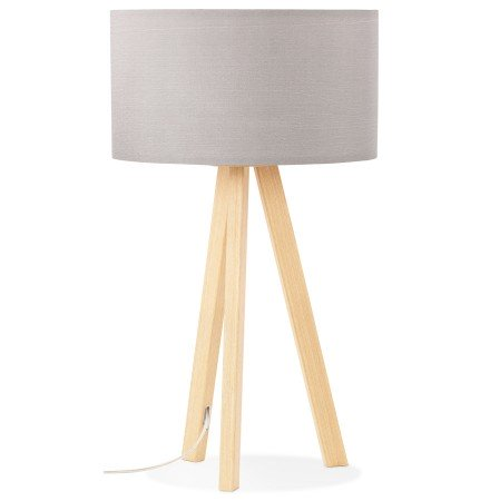 Tafellamp 'SPRING MINI' op driepoot met grijze lampenkap in Scandinavische stijl