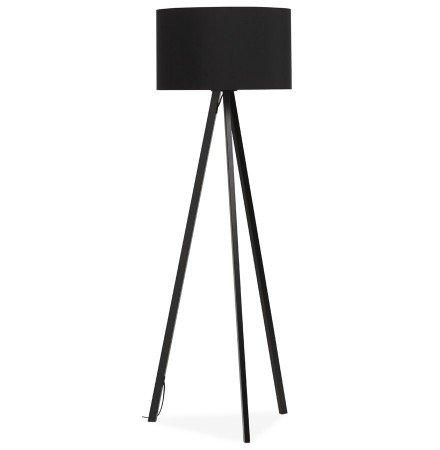 Staande lamp op driepoot SPRING met zwarte lampenkap en 3 zwarte poten - Alterego
