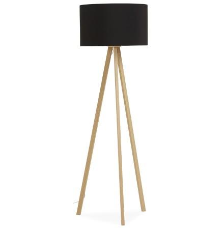 Staande lamp op driepoot 'SPRING' met zwarte lampenkap en 3 naturel poten