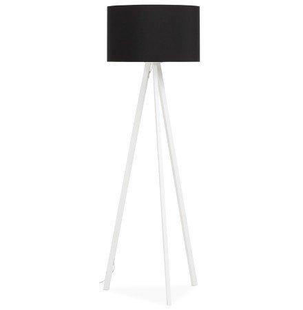 Staande lamp op driepoot SPRING met zwarte lampenkap en 3 witte poten - Alterego