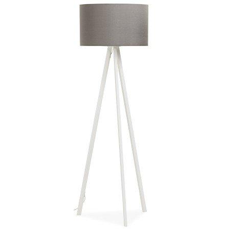 Staande lamp op driepoot SPRING met grijze lampenkap en 3 witte poten - Alterego