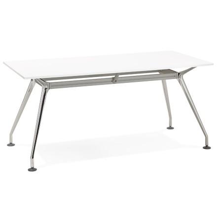 Recht modern bureau 'STATION' met een wit, houten tafelblad - 160x80 cm