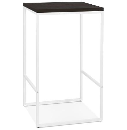 Hoge, design 'STRAMOS' tafel met witte structuur en Wengé-afwerking voor professionelen uit de HORECAsector