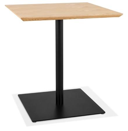 Vierkante design tafel 'SUMO' in natuurkleurig hout en zwart metaal - 70x70 cm