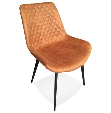 Design stoel 'TAICHI' van bruine microvezel en zwarte metalen poten