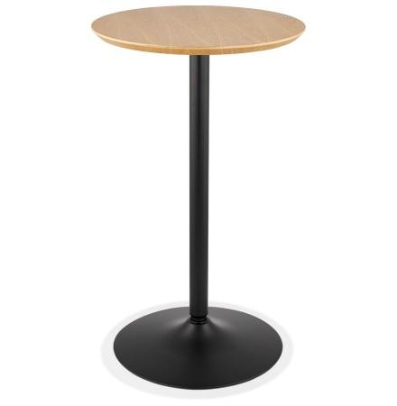 Ronde hoge tafel 'TAMAGO' van natuurlijk afgewerkt hout en zwart metaal - Ø 60 cm