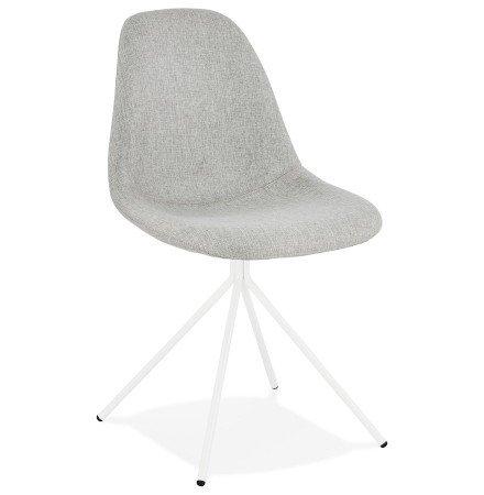 Designstoel 'TAMARA' in grijze stof met basis van wit metaal