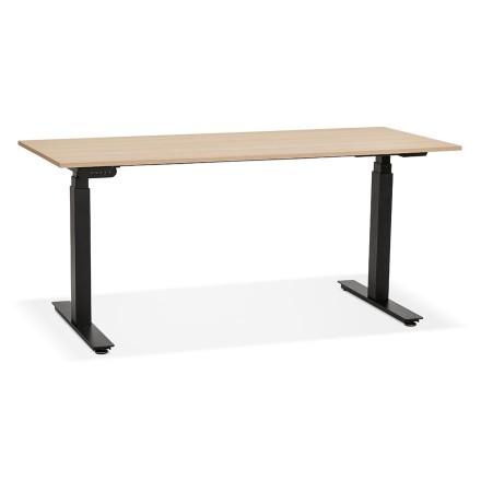 Zwarte ergonomische elektrische bureau 'TRONIK' met blad in natuurlijke houtafwerking - 160x80 cm