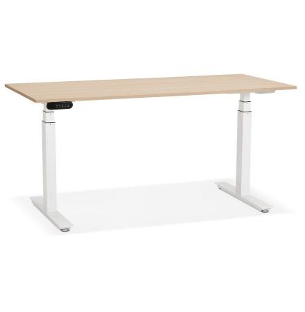 Witte elektrisch verstelbare bureau 'TRONIK' met blad in natuurlijke houtafwerking - 160x80 cm