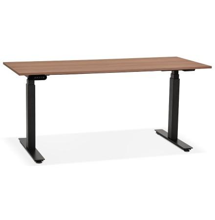 Zwarte ergonomische elektrische bureau 'TRONIK' met blad in notenhouten afwerking - 160x80 cm