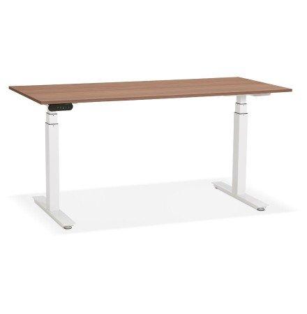 Witte elektrisch verstelbare bureau 'TRONIK' met blad in notenhouten afwerking - 160x80 cm