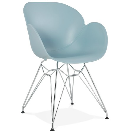 Moderne stoel 'UNAMI' van blauw kunststof met verchroomd metalen voeten