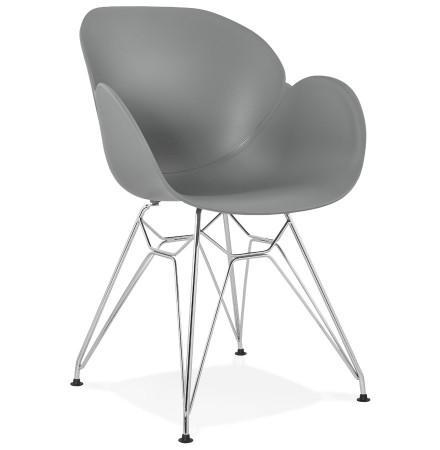 Moderne stoel 'UNAMI' van grijs kunststof met verchroomd metalen voeten